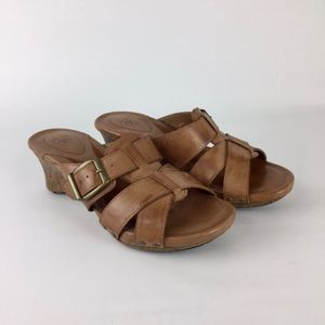 Ariat Portofino Tan Slide Strappy Wedge Sandals